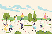 Vector spring illustration with people enjoying and relaxing their time outdoors in park. Spring season recreation.