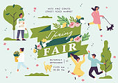 Vector spring fair poster, flyer or banner or banner template with people enjoying their time outdoors in park. Spring holiday season recreation and public event.