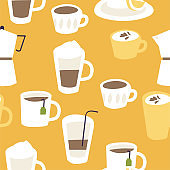 Vector illustration of set different hot drinks. Menu list of coffee and tea. Seamless pattern.