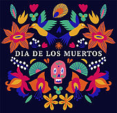 Vector illustration banner with mexican flowers for Day of the dead, Dia de los moertos. Fiesta, holiday poster, party flyer.