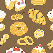 Vector illustartion assortment of different pastries. Seamless pattern for bakery shop.