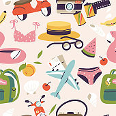 Vector illustrations of different travel, vacation or holiday signs and logos. Seamless pattern of summer vacation trip.