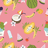 Vector illustrations of different tropical fruits and ice cream. Seamless pattern of exotic summer.