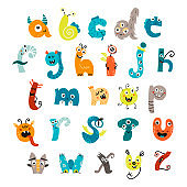 Funny alphabet with cute monsters.