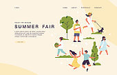 Landing page template for websites with people enjoying their time outdoors in park. Cocept of spring fair.