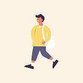 Vector illustration of happy man wearing spring season clothes. Young boy walking.