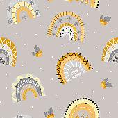 Christmas seamless pattern with Festive shiny Rainbows.