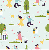 Vector spring illustration with people enjoying and relaxing their time outdoors in park. Spring season recreation. Seamless pattern.