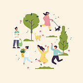 Spring illustration with people enjoying and relaxing their time outdoors in park. Spring season recreation. Vector illustration in a flat style, circle composition.