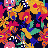 Vector illustration texture with mexican flowers for Day of the dead, Dia de los moertos. Seamless pattern.