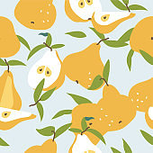 Vector illustration seamless pattern with yellow pears. Colorful summer wallpaper. Pears fruits collection.