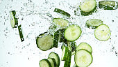 Freeze motion of cucumber in the air
