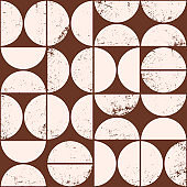 Monochrome geometric seamless pattern in Scandinavian style. Modern abstract grunge background with semicircles.