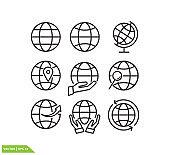 Globe icon vector logo design template