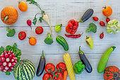 vegetables on white wooden background