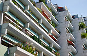 Balconies of 1970´s apartment buidlings