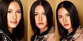 Fashion Portrait Profile Asian Woman fashionable item make up