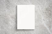 Blank portrait magazine cover on marble background as template for design presentation, promotion print, portfolio etc.