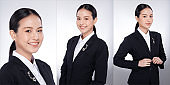 Asian Woman black hair gray suit jacket. Office girl poses many look