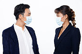 woman wear protective face surgical mask and protect covid virus
