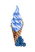 Watercolor blueberry ice cream cone isolated on white background. Hand drawn illustration fresh blueberies and a blue ice creams in a waffle cone
