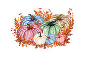 Watercolor illustration, floral pumpkins, Halloween clip art, autumn design elements, fall, holiday clip art isolated on white background