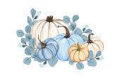 Watercolor pumpkin composition, floral pumpkins, Halloween clip art, autumn design elements, fall arrangement, Harvest clip art isolated on white