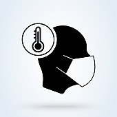 Sick man with medical mask icon. Safety respiratory mask sign. Coronavirus face protection symbol. Classic flat style. Quality design element. Simple sick man icon. Vector