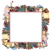 Watercolor book frame, education art library, bookshelves hand drawn illustration. Square frame with books. Back to school