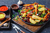 roasted sliced beetroot, potato wedges, parsnips, carrots sprinkled with chopped green onion