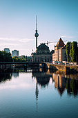 Berlin cityscape under blue sky in the morning