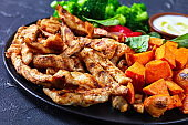 Skinny grilled chicken breast and vegetables of baked sweet potato,  boiled broccoli