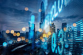 Display stock market numbers and financial district background