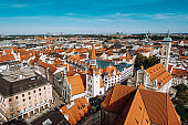Munich, Germany - Aerial view of the City Centre  with Old Town Hall