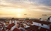 Lisbon, Portugal - Beautiful view from Miradouro de Santa Luzia on the red roofs and houses of old town