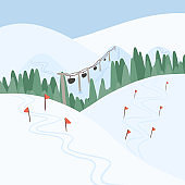 Winter ski resort landscape vector flat concept. Alps, fir trees, ski lift, mountains wide panoramic background.
