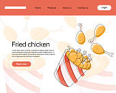 Fried chicken meat in bucket vector cartoon landing page concept.