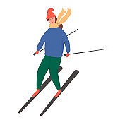 Young happy girl riding on ski vector flat cartoon illustration.