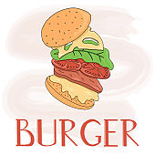 Hamburger vector cartoon card template. American fast food cheeseburger.
