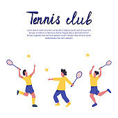 Girls in sports clothes playing tennis vector flat illustration with text space.