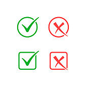 Check mark and cross icon, approved and rejected sign. Vector isolated flat design illustration