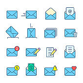 Envelope Mail icon big set. Vector isolated color symbol collection in flat style