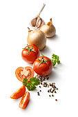 Seasoning: Tomato, Garlic, Onion, Parsley and Peppercorns Isolated on White Background