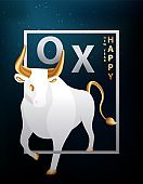 Large silvery ox with golden horns, hooves and tail. Bull in the frame of the dark sky and the stars of the galaxy. Trendy postcard or cover with 2021 lunar new year symbol. Vector stock illustration.