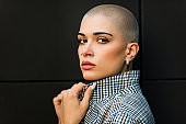 Beautiful woman with shaved hair