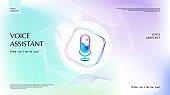 Smart voice assistant app template. Microphone icon control speech sound recognition. Digital audio spectrum line. Logo technology AI signal. Web, landing page design background. Vector illustration.