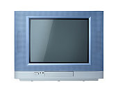 Front View Classic vintage retro old television on white background with clipping path