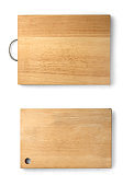 Wooden cutting board isolated on a white background with clipping path