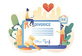 Divorce concept. Tiny people relationship breakup. Husband and wife sign agreement divorce document and property divison online. Broken heart. Modern flat cartoon style. Vector illustration