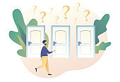 Tiny man having a choice in front of three doors. Make your choice. Metaphor alternatives or opportunities, life dilemma, decision making. Modern flat cartoon style. Vector illustration